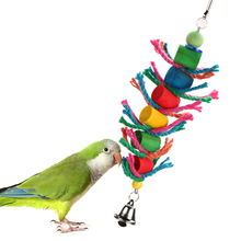 Bird Toys Colorful Swing Hanging Bird Cage Wood Chew Cylinder Rope Toys for Hamster Parrot Macaw Cockatiel