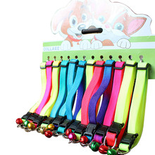 12pcs/lot Rainbow color adjustable pet dog puppy collar outdoor ring bell necklace collar on sale(China)