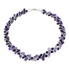 Natural Freshwater Pearl Necklace Designer Jewelry Crystal Beads Glass Beads Magnetic Clasp Birthstone Purple Women Wedding