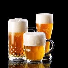 New glass cup large capacity beer drinking mug with handle(China)
