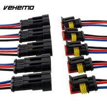 Vehemo New 5 Kit 3 Pin Way Car Vehicle Waterproof Electrical Connector Plug W/Wire AWG Marine High quality