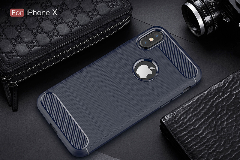 Carbon fiber brushed silicone case iphone x (11)