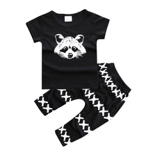 Boys Girls Summer Clothing Sets Animal Letters T Shirt+Pants Trousers Kids 2pcs Suit Children Short Sleeve Outfits Sport Suit