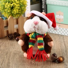 16/18cm Walking Talking Speaking Hamster Plush Toy Baby Nodding Music Walking Sound Record Hamster Stuffed Kids Educational Toy(China)