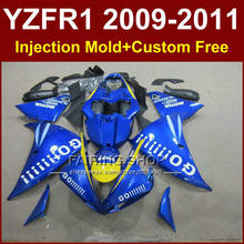 DIY Sky blue body parts for YAMAHA fairings YZFR1 2009 2010 2011 Injection mold YZFR1 09 10 11 12 R1 bodyworks YZF1000 R1+7Gifts