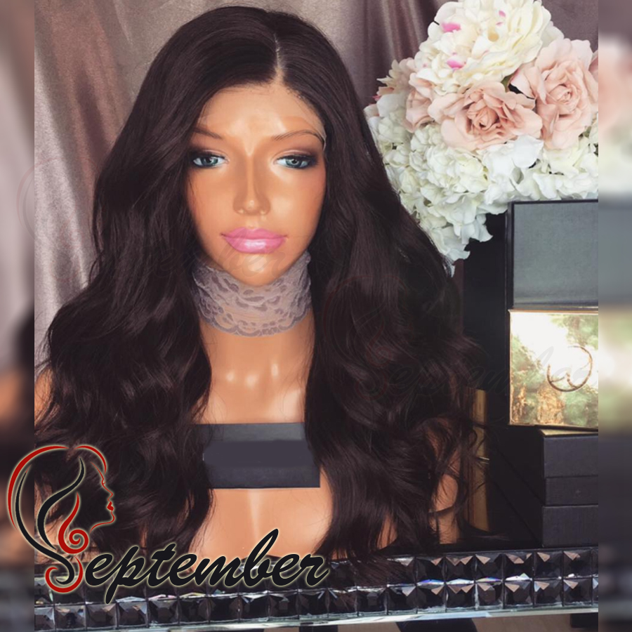 Free shipping heat resistant Synthetic lace front wig Brazilian Body Wave Black Hair Lace front Wig Baby Hair For Black Women<br><br>Aliexpress