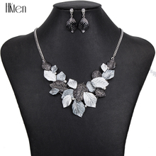 MS1504392Fashion Jewelry Sets Hight Quality 5Colors Necklace Sets For Women Jewelry Gold Plate Unique Colorful Leaf Design Gifts
