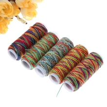 High quality Variegated 203 Polyester machine/hand sewing thread Rainbow color colorfull embroidery thread W215(China)