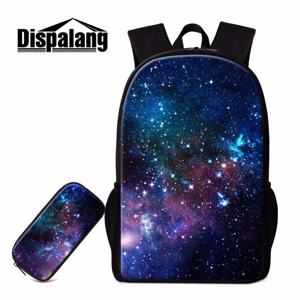 Dispalang 2pcs/set Backpack Portfolios For Schools Kids Pencil Cases Universe Galaxy Stars Shoulder Bags Students Stationery Bag<br>
