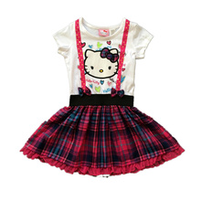 2015 New baby girl dress Hello kitty dress summer children kids cute bow cotton plaid Strap style short sleeve dress clothing
