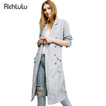 RichLuLu Autumn Women Fashion Trench Coat Gray Casual Double Breasted Female Outwear Slim Pockets Drawstring Trench Coat
