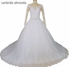 Vestido de Noiva Ball Gown Long Sleeves Wedding Dress Lace Appliques Sexy Back Vestidos de Novia Royal Tail Luxury Wedding Gowns(China)