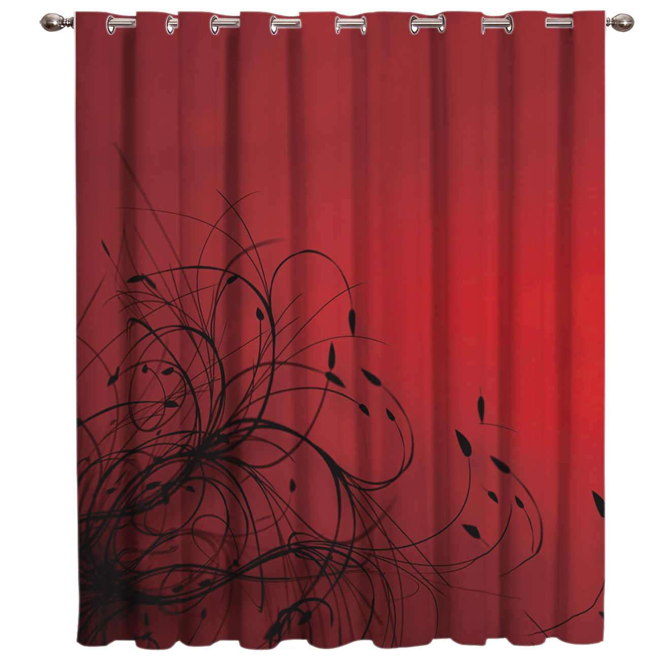Simple Red-Black Gradient Abstract Flowers Window Treatments For Large Windows Blackout Curtains Window Dressing Room Darkening