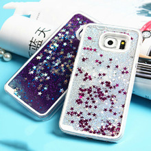 For Samsung Galaxy S3 S4 S5 S6 S7 Edge Note 3 4 5 Back Cover Glitter Stars Liquid Quicksand Hard Transparent Phone Case& Bags