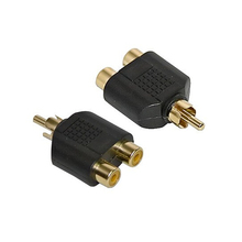 2pcs/lot 1 to Phono Splitter/Joiner Adapter 2 RCA Sockets to 1 RCA Phono Plug Phono AV Audio Video Y Splitter Adaptor