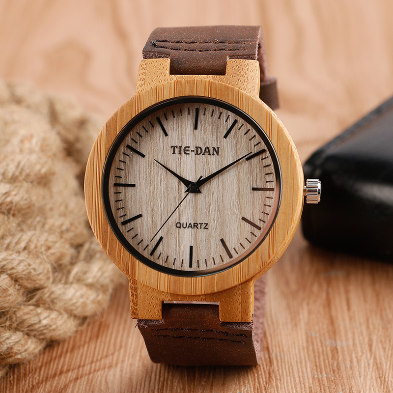 TIEDAN Fashion Hot Wooden Case Quartz Wristwatches Mens Womens Watch Brown Genuine Leather Casual Dress Ladies Male Gift New<br><br>Aliexpress