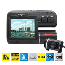 "Dual Lens Car DVR Camera I1000S Full HD 1080P 2.0""LCD Dash Cam+Rear View Camera+8 IR Led Light Night Vision H.264 Video Recorder"