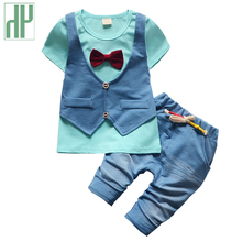 HH baby clothing summer jeans short sleeve uniform baby boy clothing set gentleman cowboy cool kids baby boy formal wear outfit