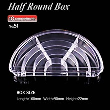 Half Round Clear Box Storage 10 compartments for DIY Home work Organizer Nail Art Jewelry beads Crafts portable container cases(China)