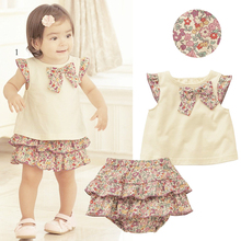 2PCS Set Flowers Bow-knot Tops+Ruffle Culottes Outfits Kids Girls Clothes 0-3Y