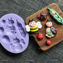 1pcs Cartoon Ladybird Silicone Mold Fondant Cake Decor Tools Paste Chocolate Pastry Shop Moule a gateau reposteria Patisserie