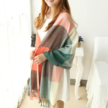 Miya Mona 2017 New Arrival Fall&Winter Women Scarves Wide Plaid Pattern Colorful Shawl and Scarf Two Ways Uses Warm Lady Girl