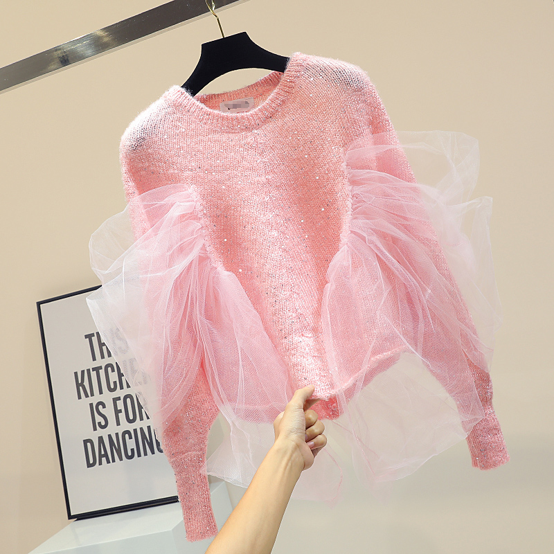 Pantalon Pink Sequine Sweater Women Lace Oversized Batwing Sleeves ladies jumper Korean Knitted runway sweater dropship