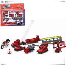 Music & flash 1:64 Diecast Alloy car model toy metal material vehicles set 14 piece fire engine set fire pumper vehicle C1028(China)