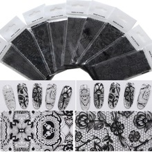 9 Pcs/lot Nail Art Glue Transfer Foil White Black Lace Nail Stickers 9 Designs Nail Tips Decals Manicure Decor Tools 4*120CM
