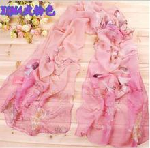 Cheap Sale Beauty Womens Ladies Charming Long Scarves Chiffon Stole Scrawl Flower Printed Wrap Soft Scarf