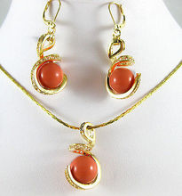 jewelry 12MM Blue orange fine stone pink coral Earring pendant necklace set AAA style 100% Natural fine stone Noble