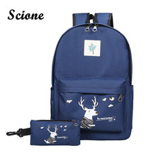 Scione 2PCS/Set Preppy School Backpack Women Canvas Daily Backpack Fashion Cute Schoolbags for Teenagers Korean Style Laptop Bag