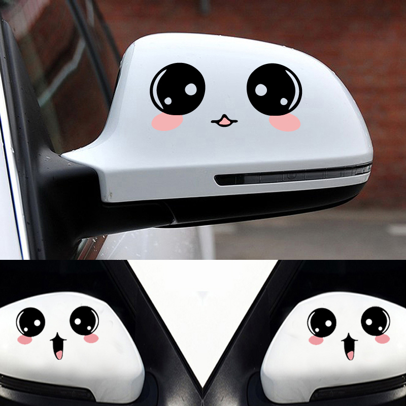 Cute Car Styling Smile Face 3D Decal Black Sticker for Auto Car Side Mirror Jl