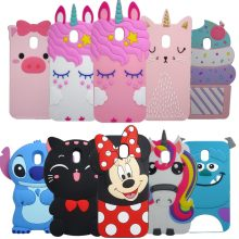 Silicone Case For Samsung Galaxy J3 2017 3D Cartoon Unicorn Minnie Stitch Cover Prime Phone