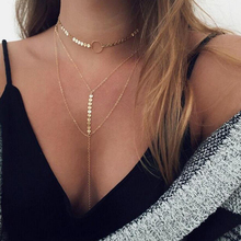 Buy Bohemian crystal choker necklace women long chain pendant necklaces multi layer choker sets boho vintage fashion jewelry for $1.16 in AliExpress store