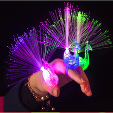 New Light Up Finger Bright Peacock Colorful Change Led Flashing Fiber Optic Lights Kid's Night Toys Gift(China)