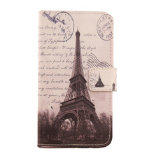 ABCTen Wallet Design Cell Phone Case Tower Printed PU Leather Flip Skin Cover for Vertex Impress U Too 4.5''