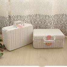 Kingart Plastic Storage Baskets Pink & White Makeup Box Jewelry Box Suitcase Stage Property Picnic basket