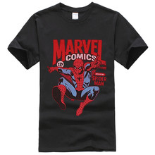 Fashion T Shirt Men Spider-man Mens T-Shirt - Marvel Comics Introducing Spider-Man Swinging Image O Neck t Shirt Tops tees