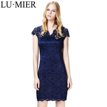 Summer Fashion Lace Dress Solid Blue Tie Waist V-neck Floral Cut Out Dress Elegant Breathable Female Midi Dress DR002
