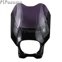 "Fiber Glass Universal Front Fairing Motorcycle Head Light Front Cowl Windscreen Blue Red Black Yellow Colour For 6"" Headlight"