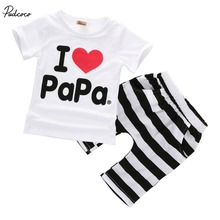 Retail 1set! 2015 Children Clothing Summer Set boys girls I Love Papa and Mama short sleeve t-shirt+pants suit kids pajamas set