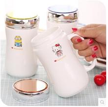 Kawaii Cartoon 450ML Hello Kitty Minion Doraemon My Neighbor Totoro Ceramic Coffee Mug Cup With Lid Spoon