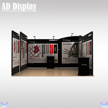 15ft*15ft Exhibition Booth Tension Fabric Printed Banner Advertising Tube Display Wall With Two Podium Oval Table(Include All)