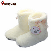 New Women's High-top Shoes Thick Plush Warm Indoor Shoes Non - slip Soft Bottom Indoor Boots Cute Bow Home Floor Shoes(China)