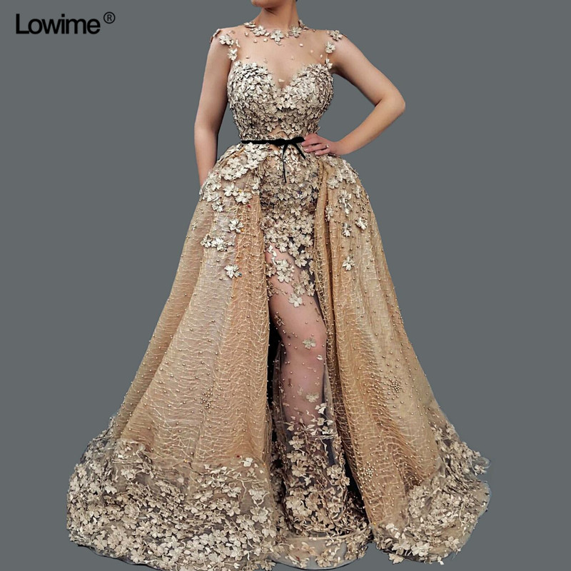 2018 New Noble Mermaid Lace Pearls Evening Dresses Long O-neck Removable Train Abendkleider Prom Dresses Gowns