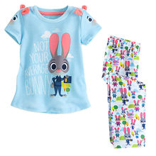 Hot Kids Girls 2Pcs Short Sleeve Tops Outfits Set T shirt Cotton Bunny Cute T-Shirts + Long Pants Colorful Girl 2-7 Year(China)