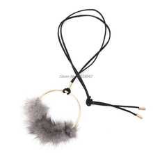Women Faux Mink Pendant Long Chain Necklace Sweater Vintage Jewelry -W128(China)