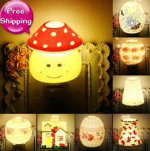 Novelty Plug Switch Ceramic Night Light Child Baby Bed Eye-lantern LED Lamp Aroma Night Lights