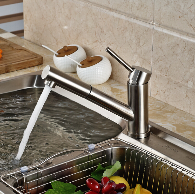 Deck Mount Short Long Pull Out Spout Kitchen Mixer Faucet Tap Brushed Nickel with Hot and Cold Water<br><br>Aliexpress